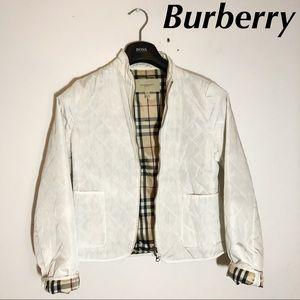 Burberry Quilted Jacket White Nova Check Print